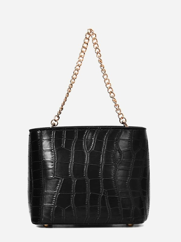 Croc Embossed Chain Tote Bag