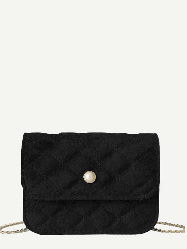 Quilted Detail Suede Chain Bag