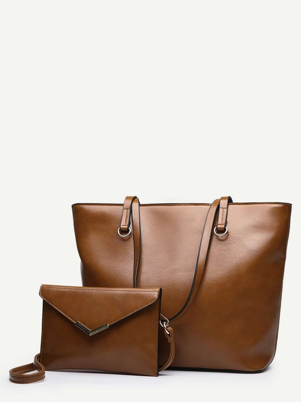 Solid Tote Bag With Flap Wallet
