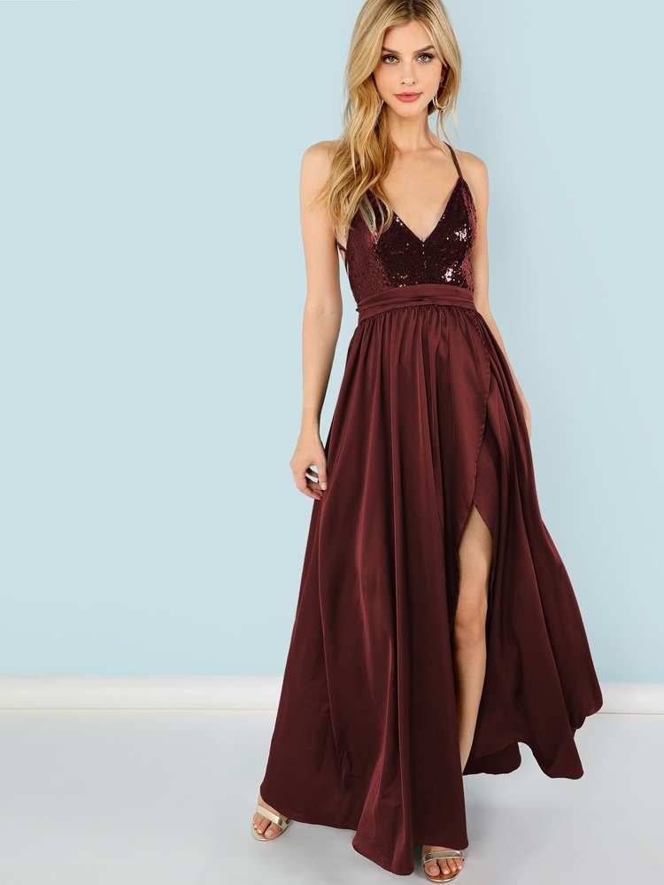 4e76515a Sequin Panel Split Maxi Cami Dress   SHEIN