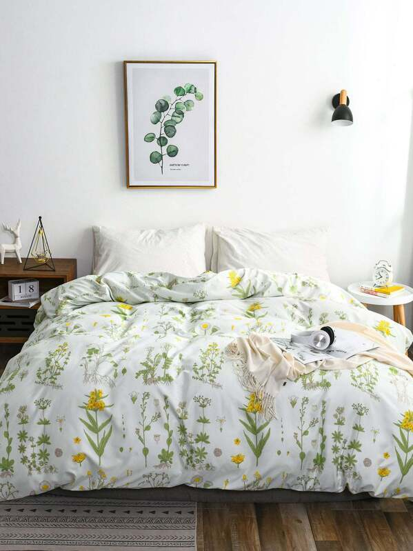 Floral Pattern Print Duvet Cover 1pc