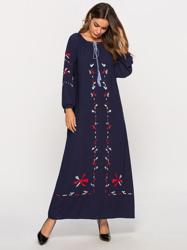 Floral Embroidered Waist Tie Bishop Sleeve Dress