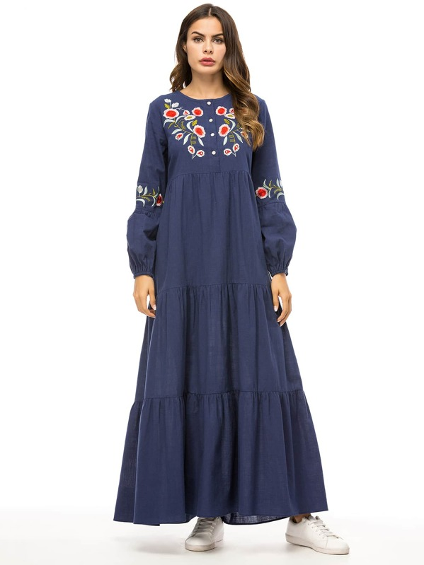 Floral Embroidered Bishop Sleeve Button Half Placket Dress