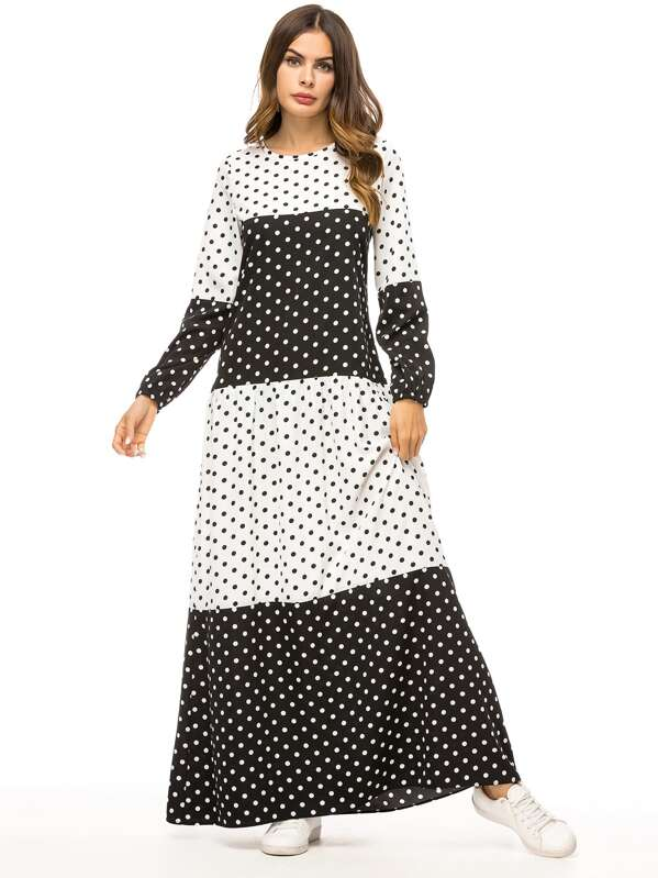 Polka Dot Bishop Sleeve Patchwork Longline Dress