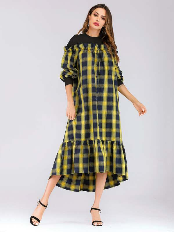Gingham Ruffle Hem Button Decoration Bishop Sleeve Dress
