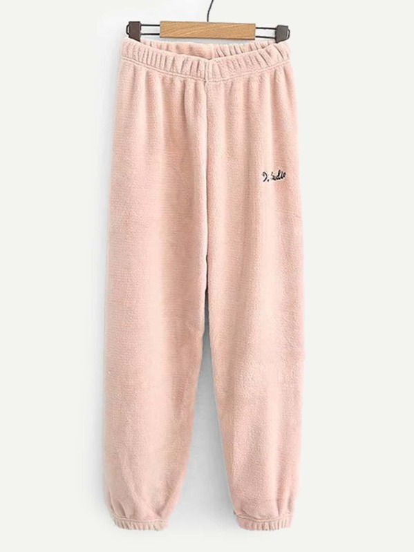 Embroidered Coral Fleece Pants