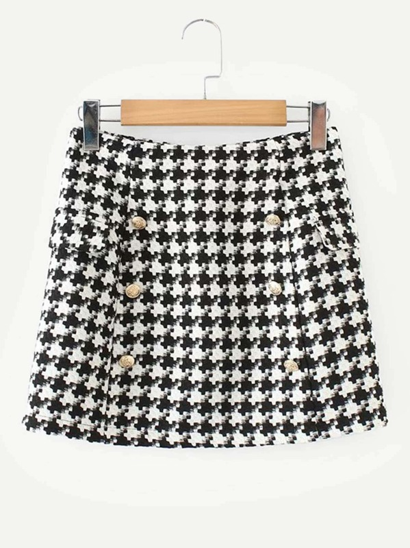 Double-breasted Houndstooth Skirt