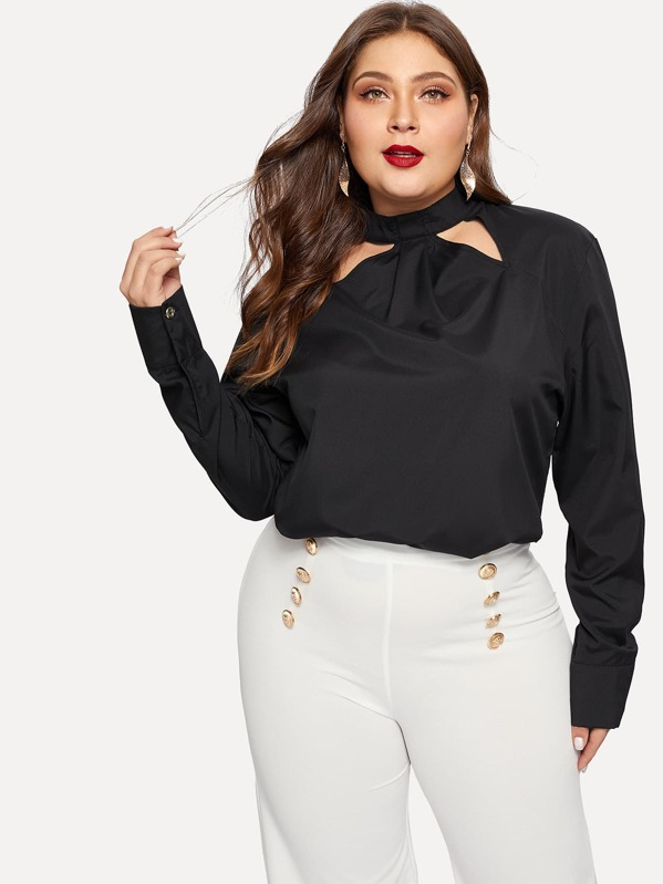 Plus Cut Out Neck Keyhole Back Blouse