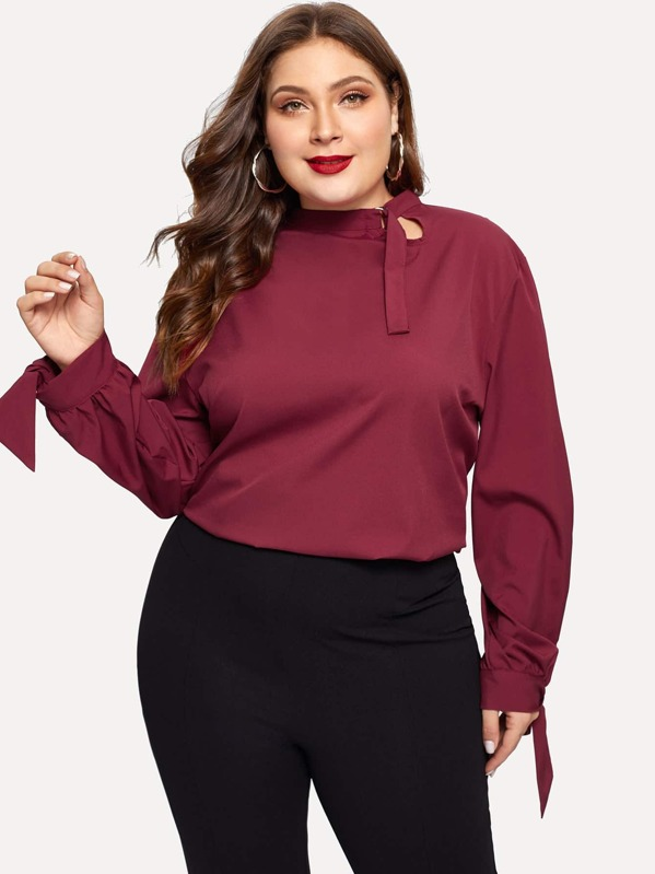 Plus Knot Cuff Solid Blouse