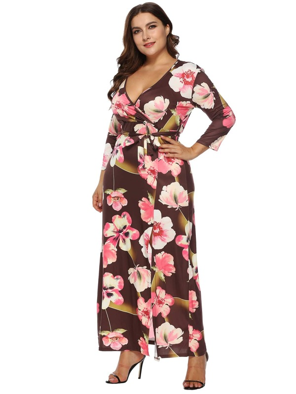 Plus Floral Print Belted Dress