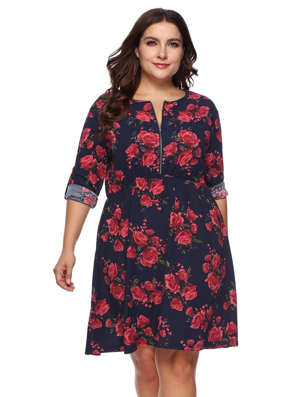 Plus Floral Print Quarter Zip Dress