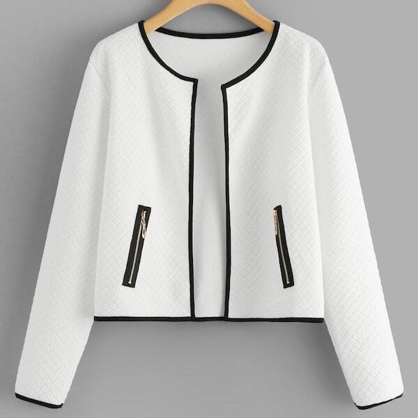 Plus Contrast Trim Zip Side Coat, White