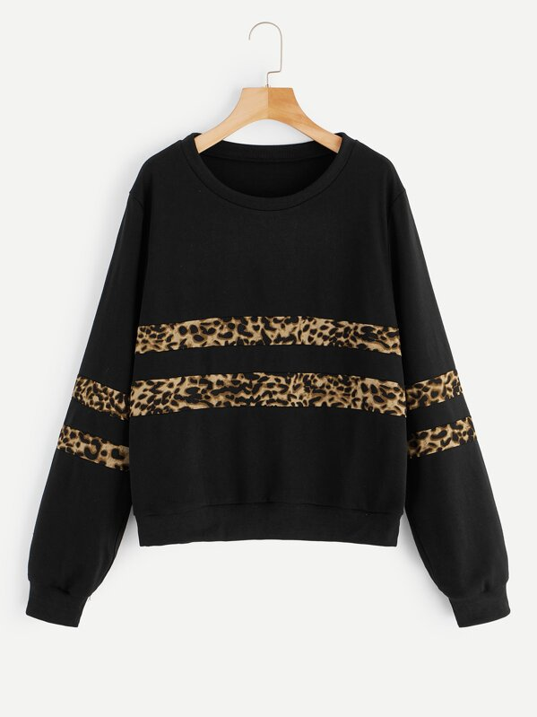 Plus Leopard Panel Sweatshirt