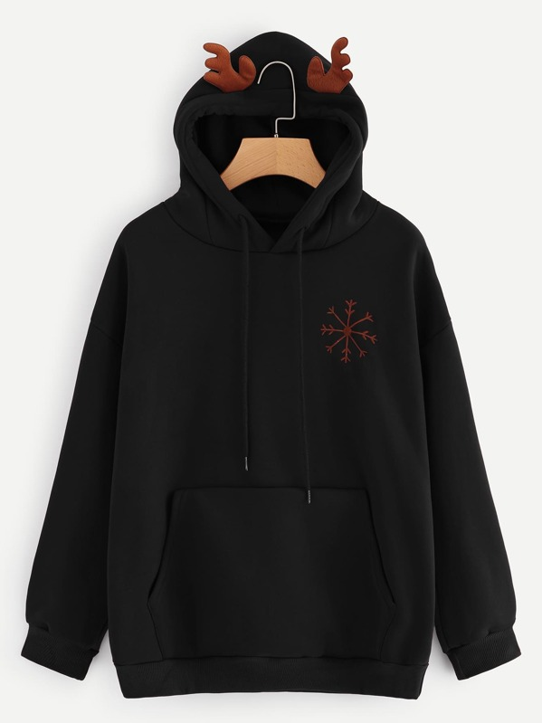 Christmas Snowflake And Letter Embroidered Hoodie