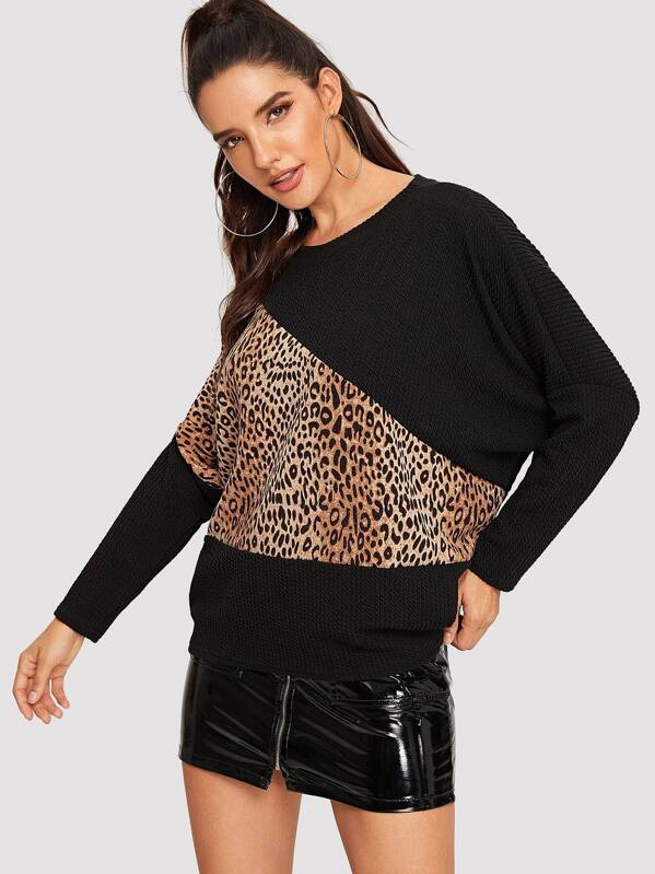 Leopard Panel Sweatshirt