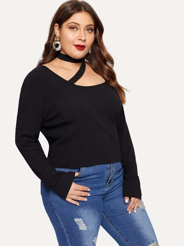 Plus Ribbed Choker Detail Tee