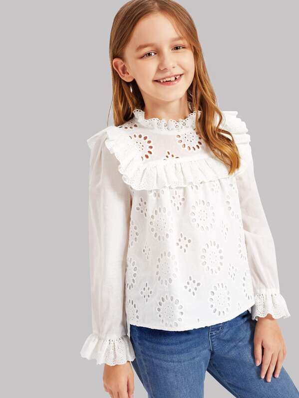Girls Button Back Eyelet Embroidered Ruffle Top