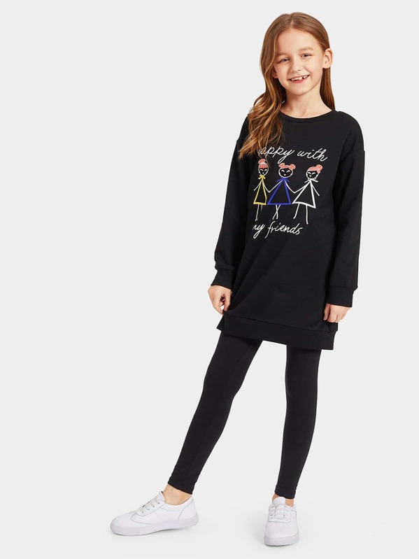 Girls Letter and Figure Print Pullover