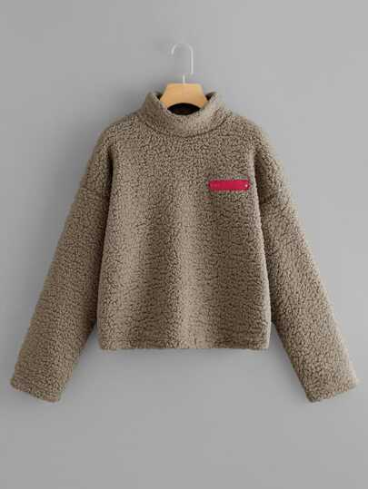 7c3a552c902e0 Funnel Neck Zip Front Teddy Pullover