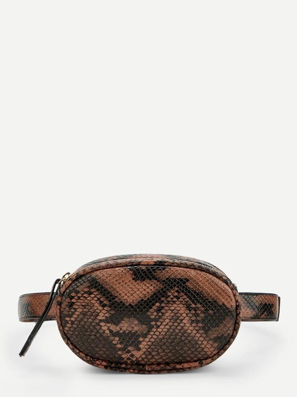 Snakeskin Pattern Bum Bag by Shein