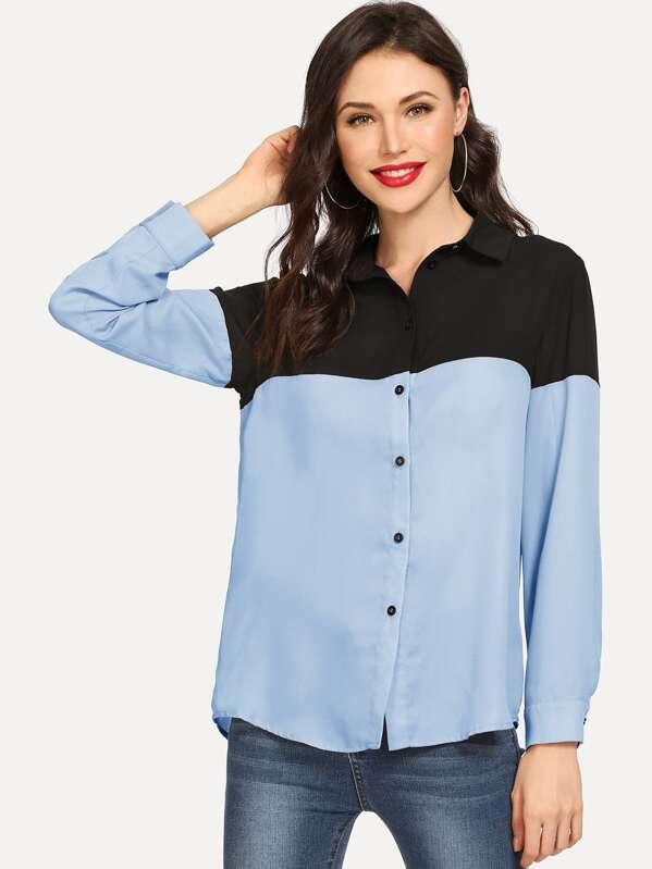 91cc15a0278 Двухцветная рубашка с выгнутым подолом