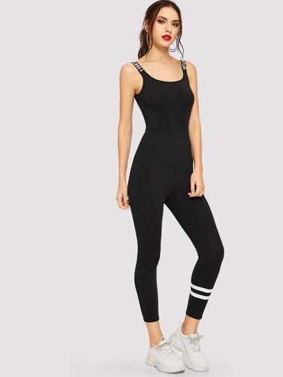 Letter and Striped Unitard Jumpsuit f9994a95b