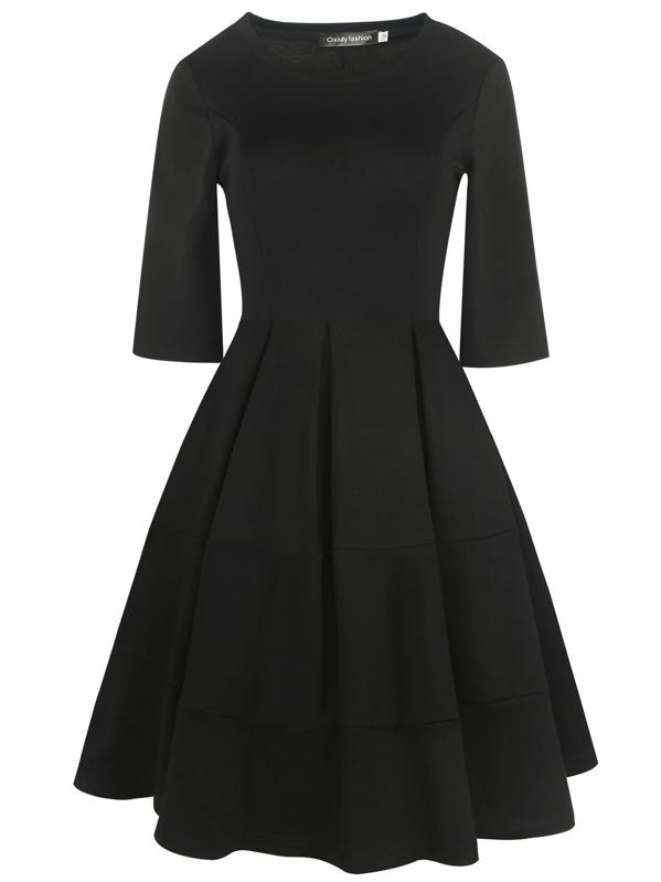 d1f46e4f0cc77 Oxiuly Cut-and-sew Boxed Pleated Dress