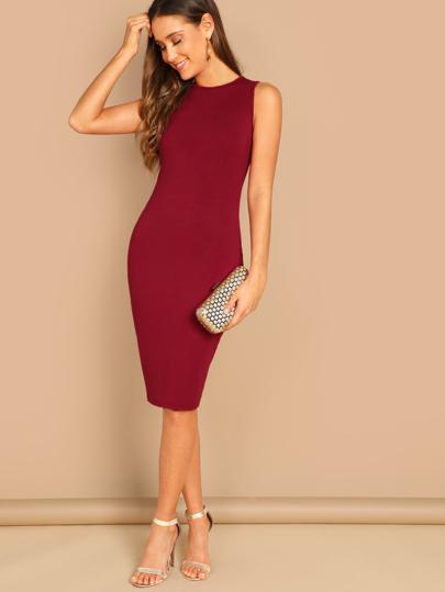 SHEIN Sleeveless Midi Bodycon Dress. Sleeveless Midi Bodycon Dress 0332b0e3d