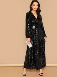 Surplice Wrap Prom Maxi Sequin Dress  3eaebbb92bb5