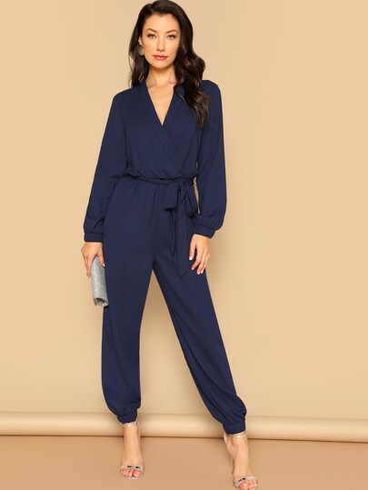 6a4642948a68 Surplice Wrap Plunging Belted Jumpsuit