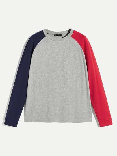 Men Color Block Raglan Sleeve Top