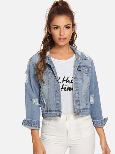 b0bd684b555c6 Bleach Wash Ripped Denim Jacket