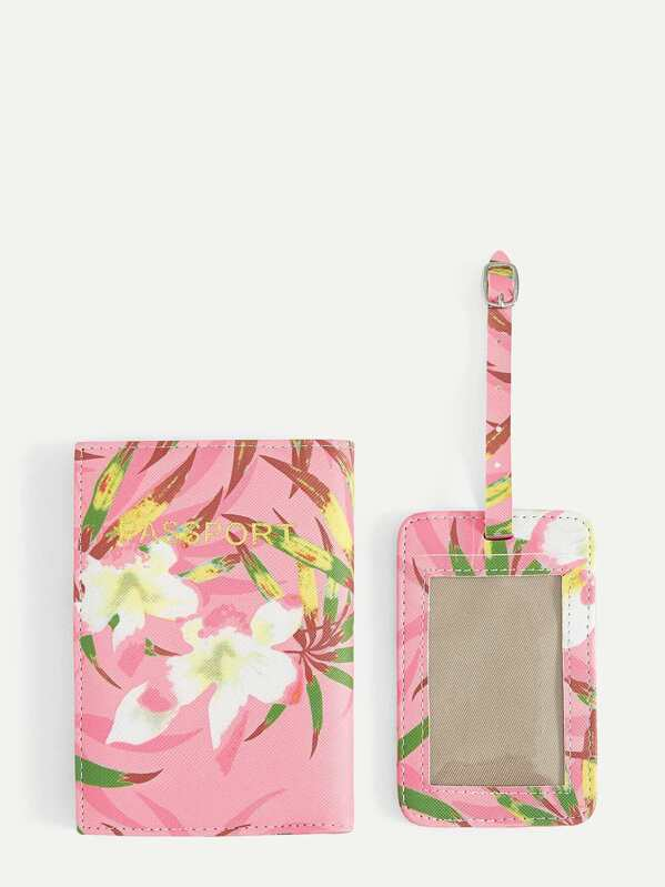 Flower Print Purse With Card Holder