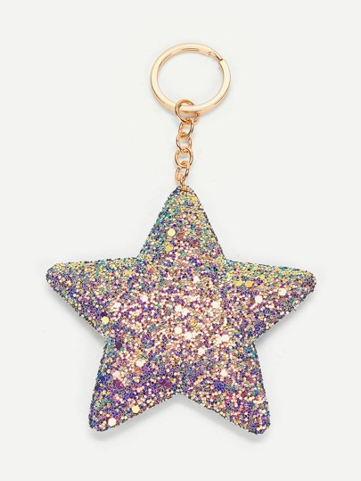 Sequin Overlay Star Pendant Keychain