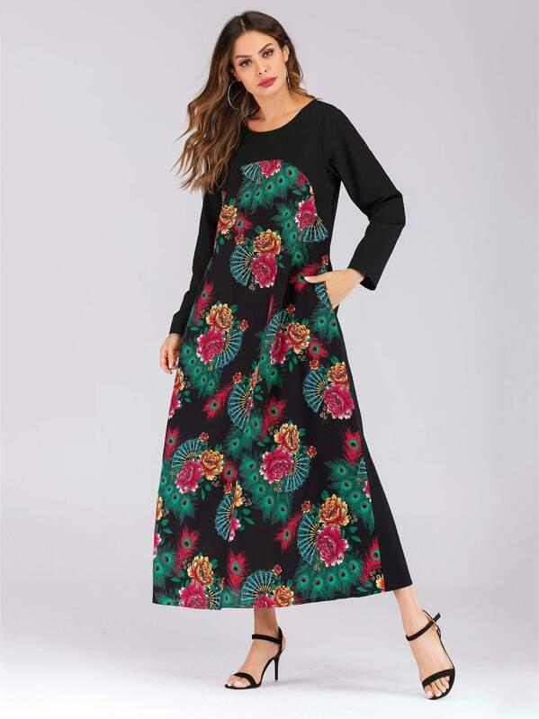 70bb3383d5e61 ملابس عربية الجيب رسم الزهر أسود محتشم - Arabic SheIn(Sheinside)
