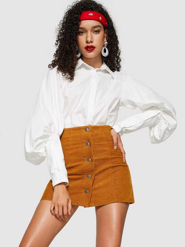 Leg Of Mutton Sleeve Curved Hem Shirt by Shein