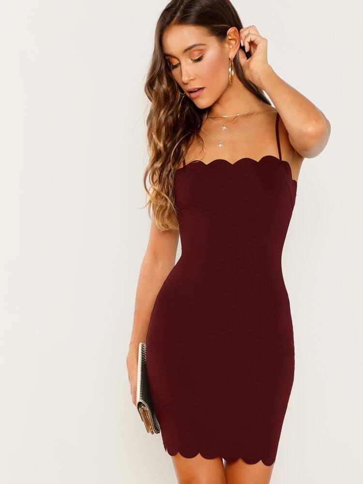 ed697f001c7b2 Scallop Edge Cami Bodycon Dress | SHEIN