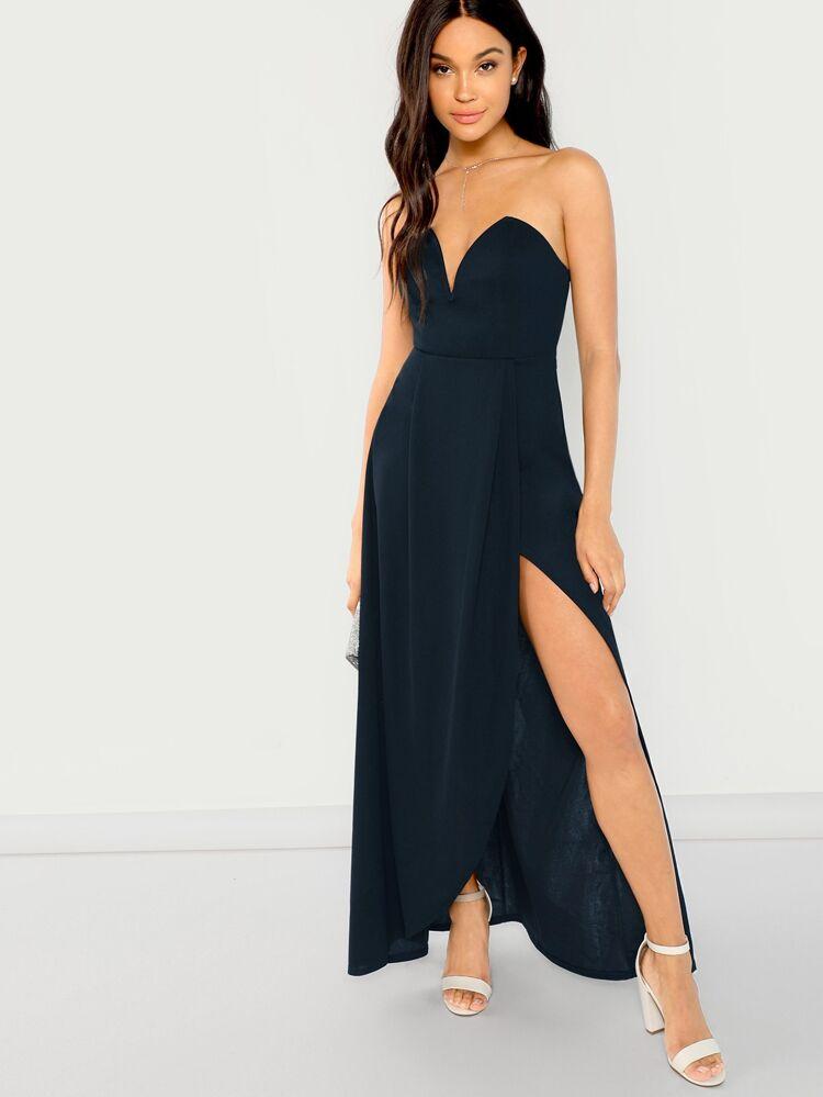 567524bd V Cut Tube Split Maxi Dress   SHEIN
