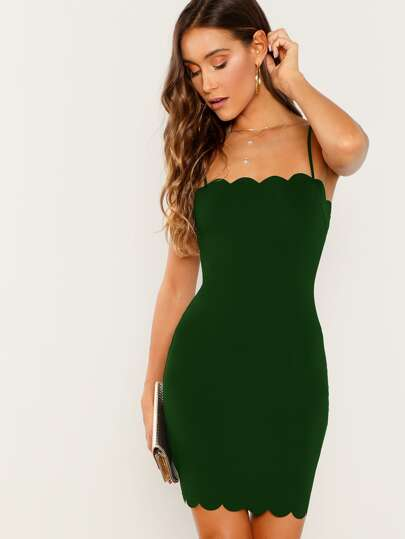 Form Fitting Scalloped Cami Dress 6dc0602ed2