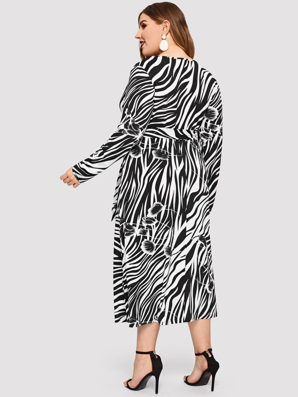 dcc6715ed4 Plus Tie Waist Surplice Wrap Zebra Dress