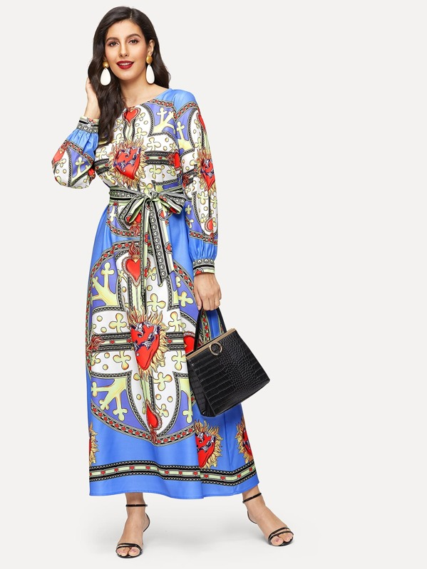 Tribal Print Hijab Long Dress With Belt
