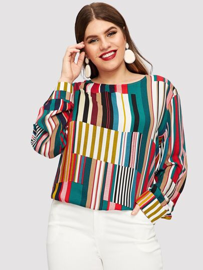Plus Striped Curved Hem Blouse 46733e308