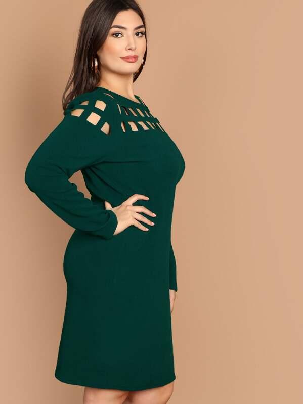 d2c1c279d53b4e Groen Elegant Vlak Grote maten jurken Uitgeknipt