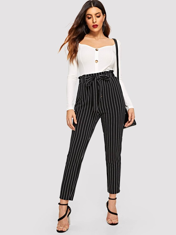 Button Fly Tie Waist Vertical Striped Pants
