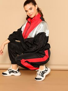 86f8389fd50 Plus Cut-and-sew Zipper Up Jacket   Sweatpants Set