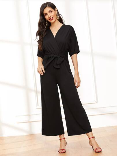 0208302e392 Surplice Neck Wide Leg Belted Jumpsuit