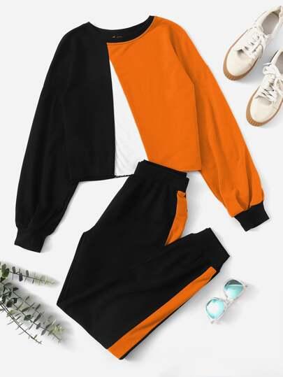 2a98d8f27485 Preppy Färgblock Svart Tvådelad Outfit