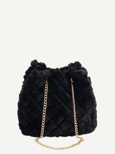 035a88b9c3d0 Quilted Detail Fuzzy Chain Tote Bag