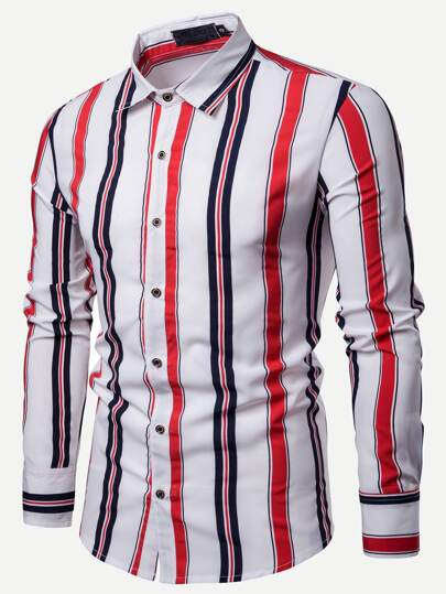 023b7b5ed6f Men Color Block Vertical-striped Shirt