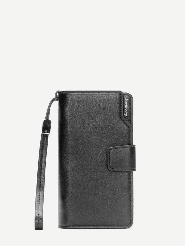 Men Fold Over PU Wallet With Wristlet